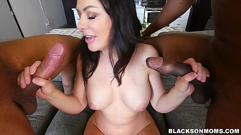 Two super large black shands in hand of a bubble butt busty raven hair milf Sasha Sean