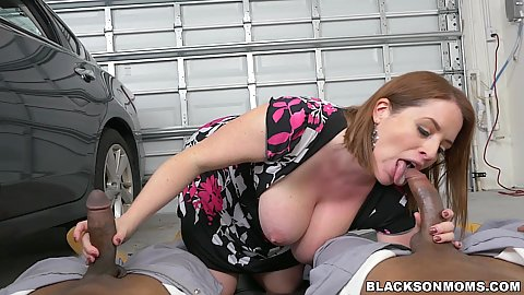 Handjob and fellatio from large pulled out knockers white milf Maggie Green giving some impressive deep throat in pov with mechanics