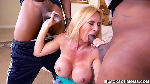 Two lucky studs of young age males get their dicks blown off by this experienced well aged white milf Brooke Tyler