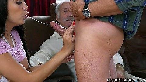 Amusing black hottie Aaliyah Hadid giving a nice and sloppy had to this grand pa dick and his friend watches this ordeal
