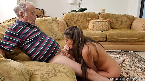 Jeleana Marie giving old grandpa an oral then sits on his face and spreads that grool over his gray beard