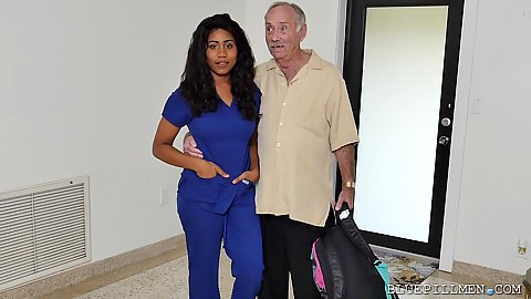 Old geeze and a sexy black nurse hottie Jenna Foxx about to get some dick sucking done