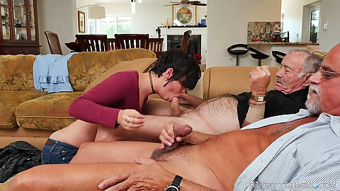 Threesome and handjob with fellatio from really old grandpas getting Sydney Sky to do them well