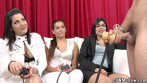 Cfnm girls reality show watch as guys try various male masturbating toys and take part in it as well