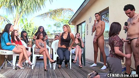 Girl comes up and chooses her dick to get licked buy on a chair in cfnm outdoor backyard show
