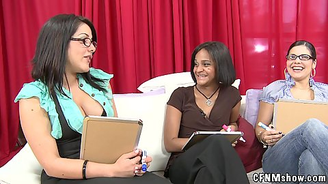 Cleavage showing girls go for a sex show called guess the cock in cfnm