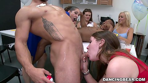 Deep throat and whipped cream eating off hard dick with fully clothed cfnm office whores having a blast