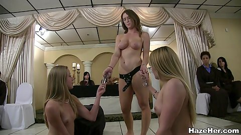 Strap on lesbian amateur hazing play with girls doing down and dirty right on the secret lair floor