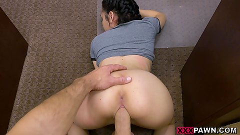 Fucking this petite impressive little hottie from behind on our dirty office floor in pov Kiley Jay all so she can get a discount