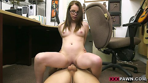 Office floor reverse cowgirl cock humping with naturally boobed chick looking to sell some of her old bfs guns
