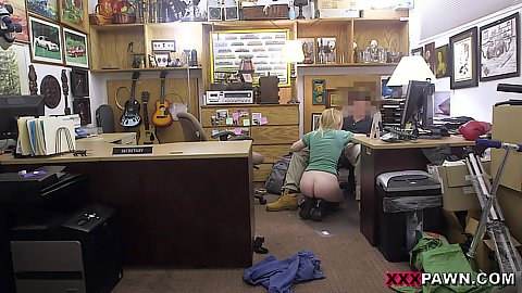 Intense oral and fucking blonde girl with no panties on in our office during work time