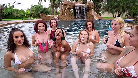 Party ladies in the pool and we found this horny girl Stephie Staar and invited her to masturbate for us solo