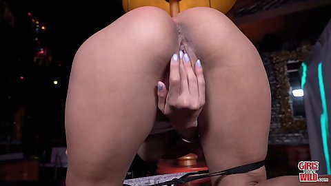 Bent over ass showing and fingers diving in the pussy ocean Monica Asis self pleases