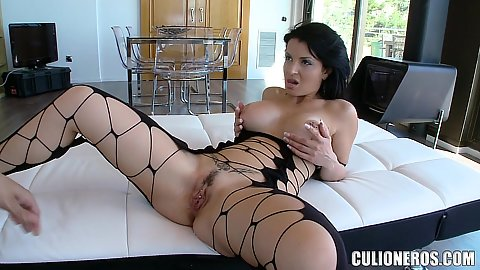Bodystocking with some fishnet and large penis blowjob with a titty sex in pov from Amanda X