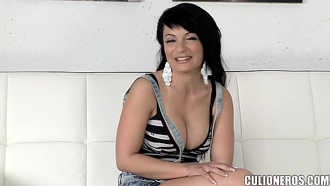 Cleavage and a bit of a chat with Amanda X preparing to do her audition tape in our office