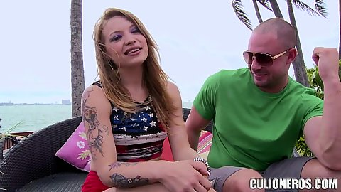 Talking ab it with the mischievous Alyssa Branch outdoors before she takes off her clothes and give a good head