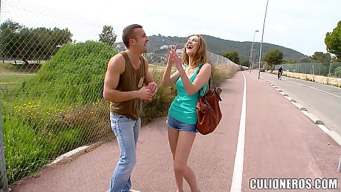 On the public street with college redhead in tight little shorts Alexis Crystal takes off her clothes and remains in bras and panties