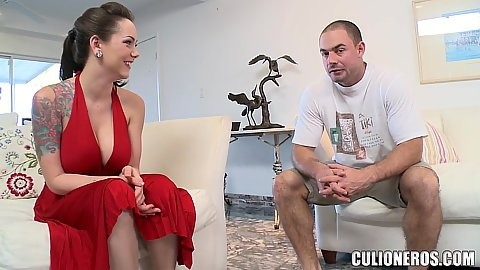 Chatting up a busty clothed in a sexy red dress gown Ashton Pierce and then worshiping her meaty butt