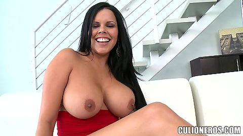 Large jugged milf Diamond Kitty pulls out her firm boobs and rubs some oil on them solo