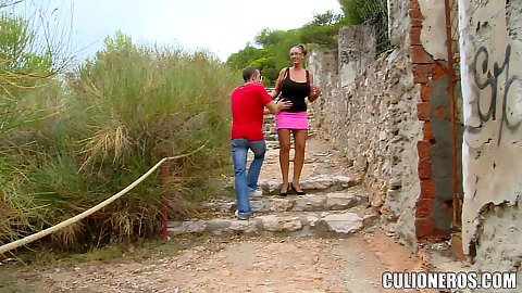 Going to the quiet street in public outdoors with huge breasts Emma Butt getting oral and fucking that big butt