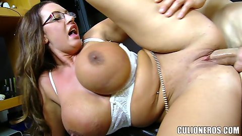 Shaved snatch screwing with huge tits milf in glasses she then provides a good titty sex and cumshot on her own face