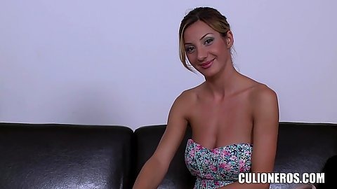 Kinky Alice Romain smiling in our office gonna do a bit of striping solo for us