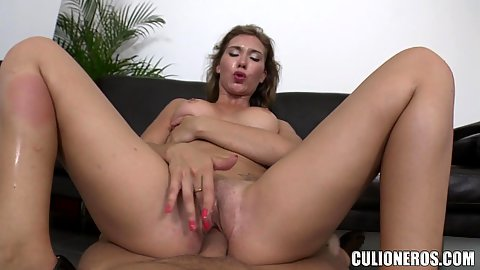 Dick thumping in cowgirl mode frm office casting chick Cristal Cherry to a facial cumshot eating queen