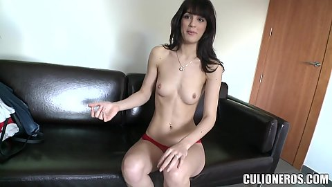 Slim girl with quite the small chest Carol Vega getting all naked for casting and offering a bit of head