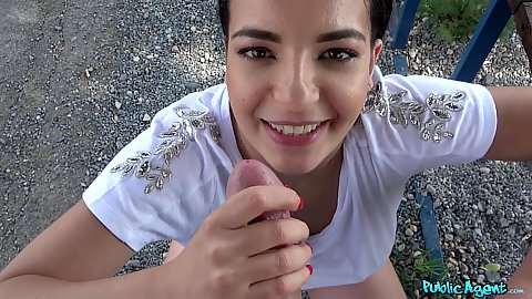 Picnic table fuck in a public park with jaw droppingly horny Sophia Laure in pov and doggy style after offering cash