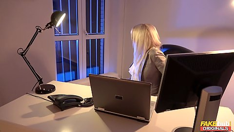 Office time and its late milf Kathy Anderson about to leave when a burglar goes in and she sucks him under the table