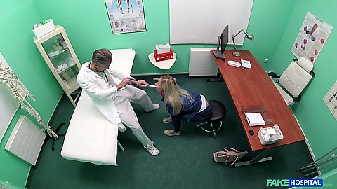 Blonde girl crawling around the doctors office until he fucks her Nathaly Cherie