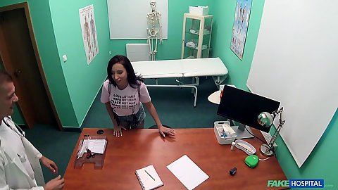 Lola Bulgari in the doctors office gets naked and then blows the perverted doctor in pov