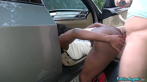 Interracial banging with picked up in a public park ebony GI Jai James having her head inside the car during this process