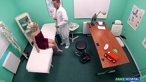 Little blonde youngster college girl Anna Rey wrappe din towel sitting on doctors bed about to get pussy checked