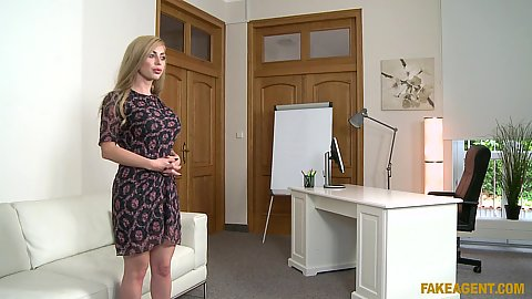 Magnificent Russian casting blonde Isabella Clark takes off her dress and proceeds to giving head in pov in office