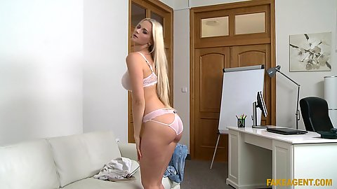 Striptease in the office of our casting management Katy Pearl shows her fleshy 22 yo body and touches self