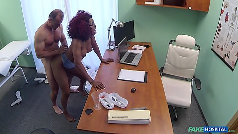 Jasmine Webb getting away with nailing her doctor as she takes on her vag from behind in white cock black girl 1 on 1