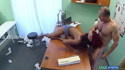 Interracial doctor oral performed by the busty horny black whore Jasmine Webb caught by security cam