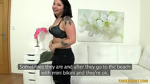 Anny getting naked to become our amateur fake agent dick blower today
