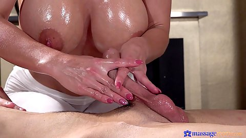 Big boobed blonde handjob and fellatio during massage with Nathaly Cherie making it nice and slippery