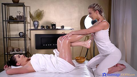 Yoga pants blonde and brunette euro girls Nathaly Cherie and Ellen Betsy doing kissing and oil touching