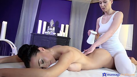Yoga pants romantic massage time from ecstatic lesbian oily lovers Emylia Argan and Anna Rose
