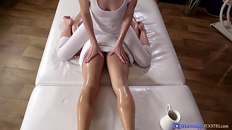Yoga pants cfnm Lana Seymour sits on guys body oiling him and then doing 69