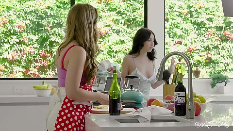 Lena Paul and Jade Baker having a bi tof a cooking show issue they get horny and climb on table