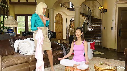 Brunette is trying to find her inner peace while meditating but her blonde friend has some boob oiling in mind Eliza Ibarra and Athena Palomino