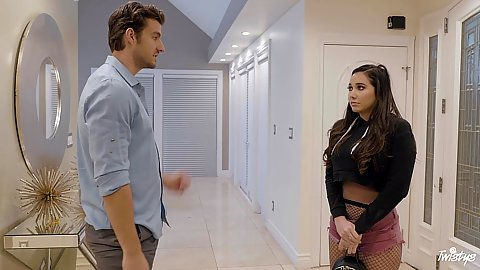 Cum thirsty Karlee Grey is a little runaway that will need to get fucked
