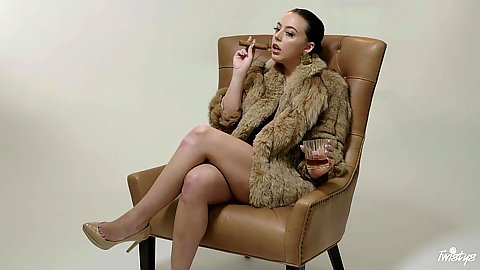 Fur coat and a cigar from glamcore girl Whitney Wright feeling her pussy moisten