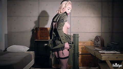 This army uniform latina Lily Labeau gets naked in her barracks