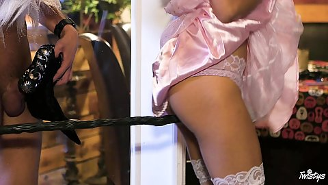 Sexy lingerie with a horny raven haired babe going down to suck offo this dude