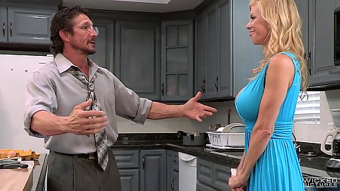 Blonde milf with cleavage showing from her new blue dress in story based couples quarrel and oral in kitchen Alexis Fawx